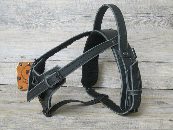 Leather Y Front Service Dog Harness with Black Hardware