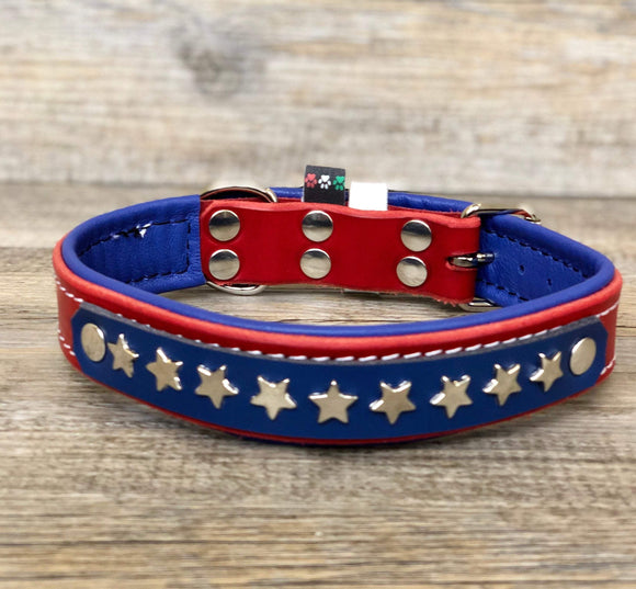 American Style Padded Leather Dog Collar with Stars and Stripes - yupcollars