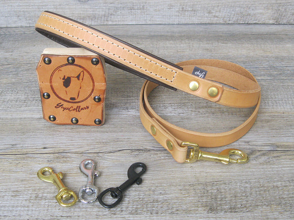 Leather Dog Leash Padded Handle in 6 Colors and Custom Length, Width and Hardware