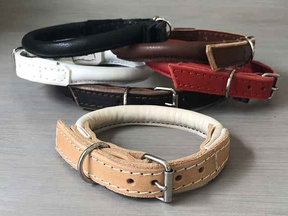 Rolled Leather Classic Dog Collar in 6 Colors