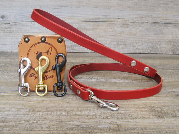 Leather Dog Leash in 9 Colors with Custom Length, Width and Hardware