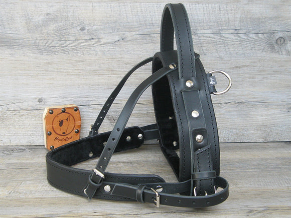 Leather Straight Front Service Dog Harness with Fixed Semi Rigid Handle