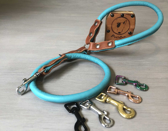 Rolled Leather Dog Leash in 7 Colors with Custom Length and Hardware