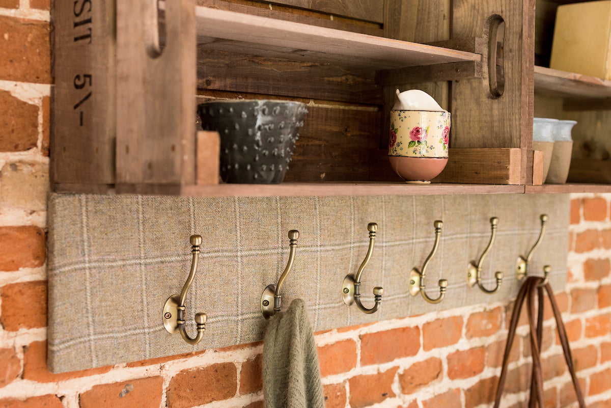 Apple crate shelves and coat hooks