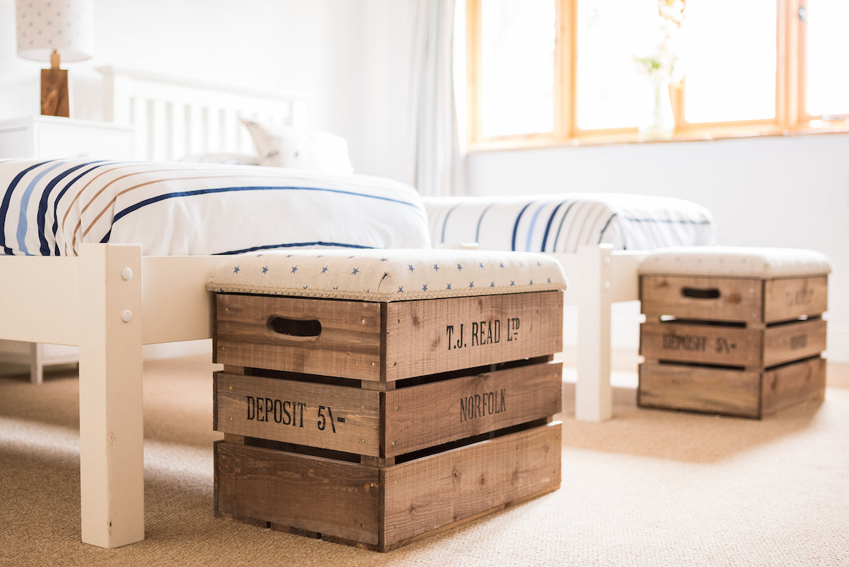 Apple crate storage stools