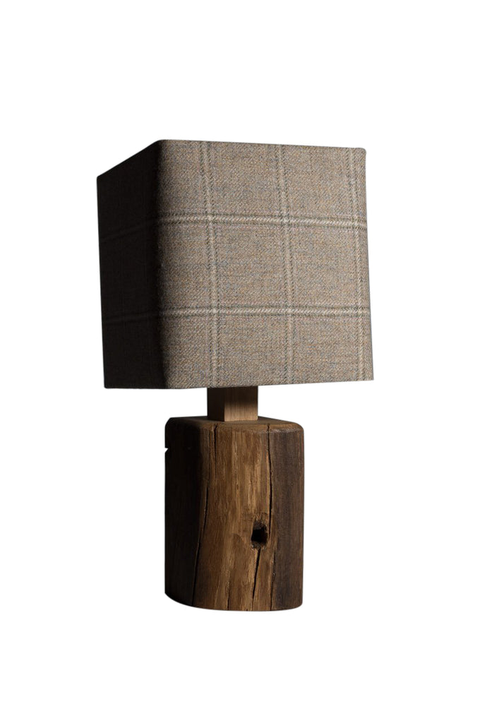 Barn owl tweed oak table lamp