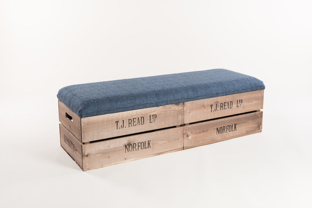 Flintstone and midnight tweed long footstool