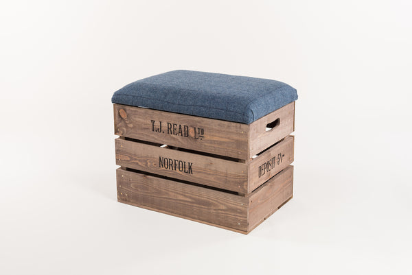 Flintstone and midnight tweed storage stool