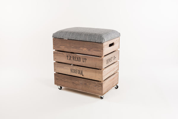 Grey stripe tweed breakfast bar stool