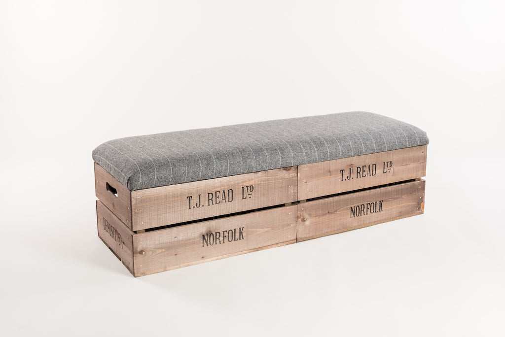 Grey stripe long footstool