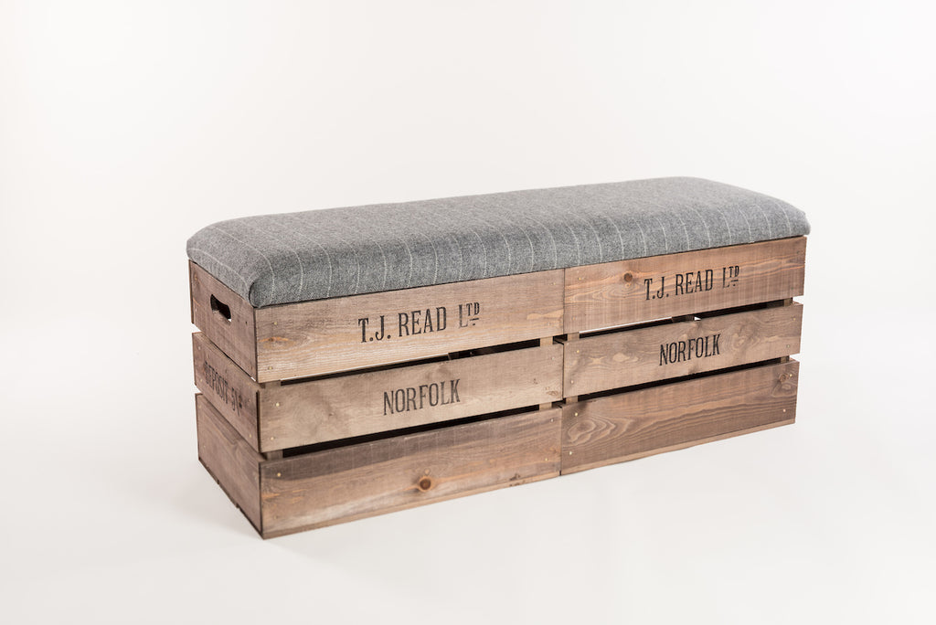 Grey stripe storage bench