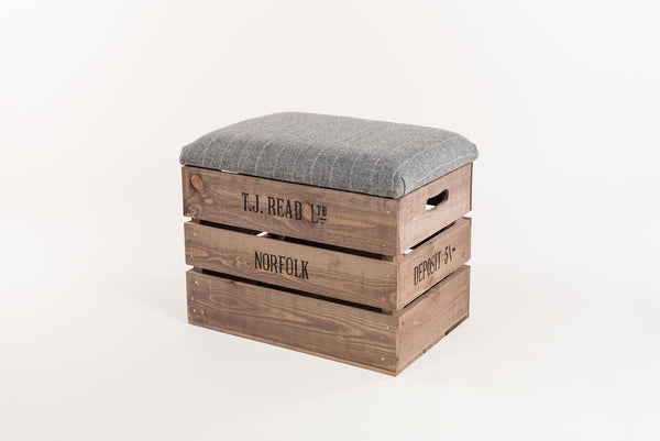 Grey stripe storage stool