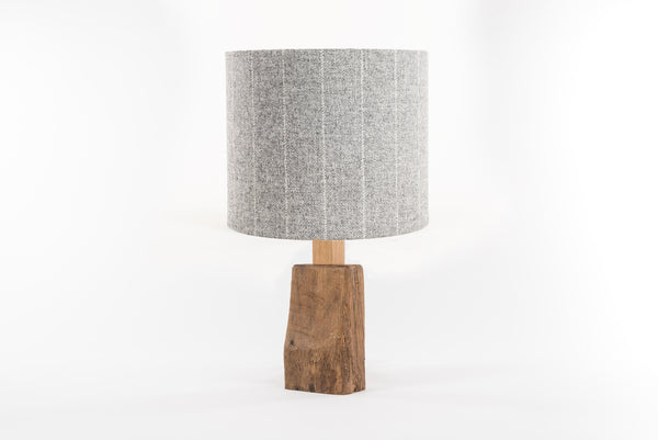 Grey stripe tweed table lamp