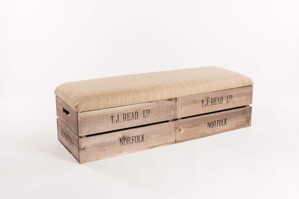 Natural stripe tweed long footstool