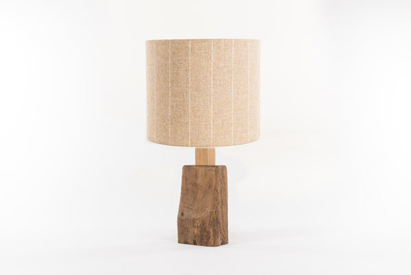 Natural stripe tweed table lamp