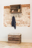 Natural stripe tweed shelves and coat hooks