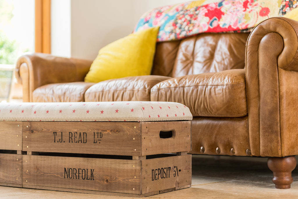Provide your own fabric long footstool