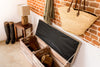 Natural stripe tweed storage bench