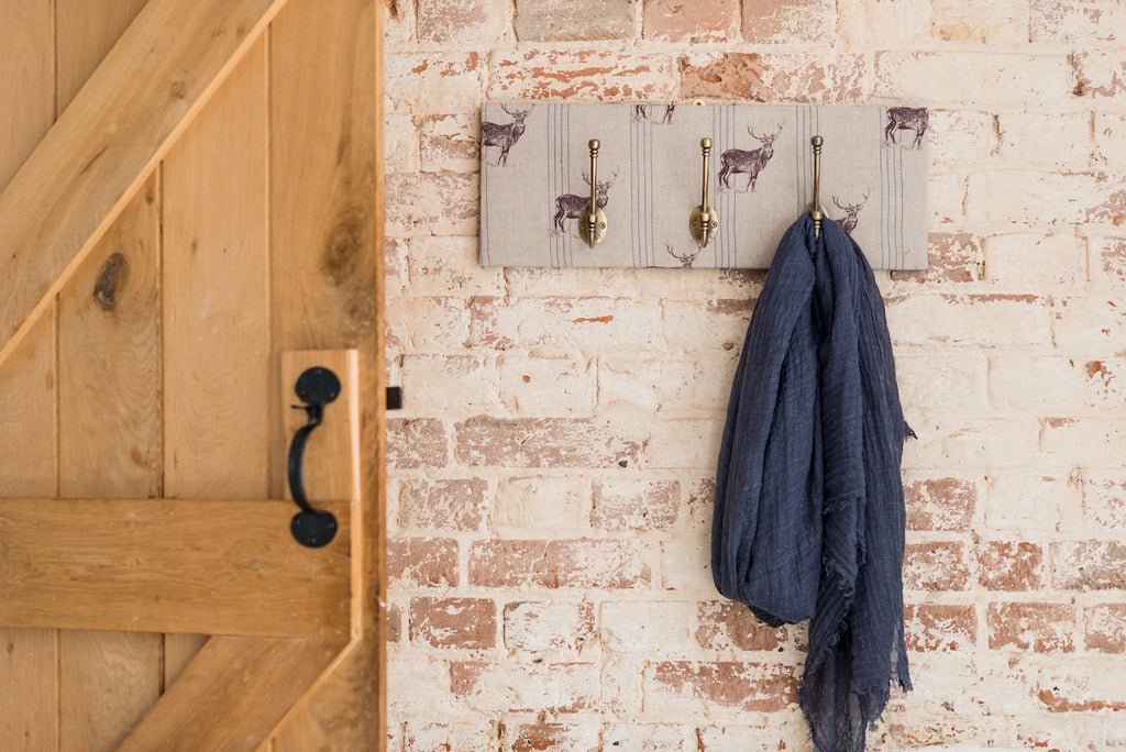 Blue stripe stag coat hooks