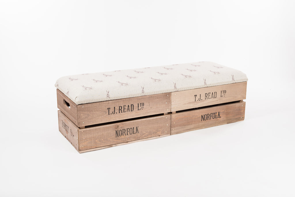 Blue dot hare apple crate long footstool