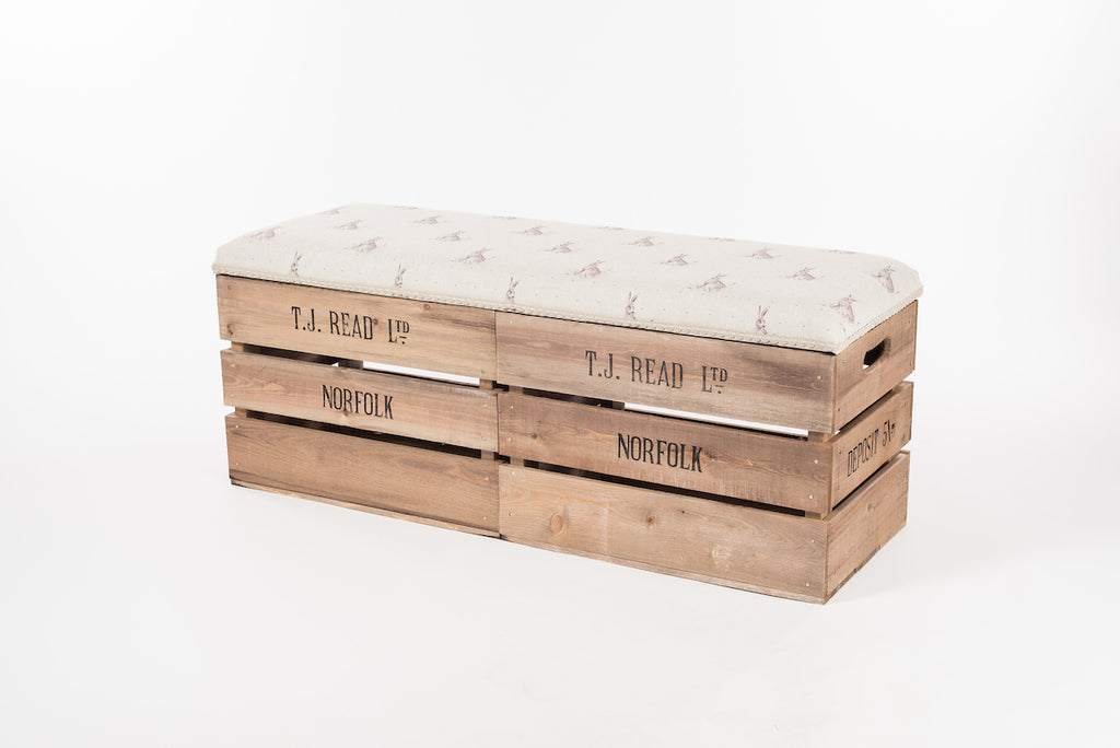 Blue dot hare apple crate storage bench
