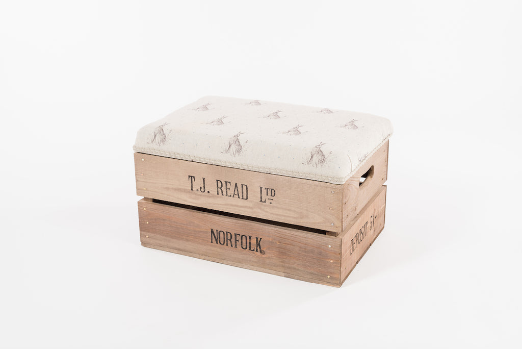 Blue dot hare apple crate footstool