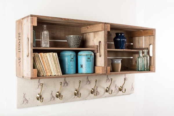 Blue dot hare shelves and coat hooks