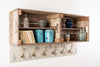Blue dot hare apple crate shelves and coat hooks