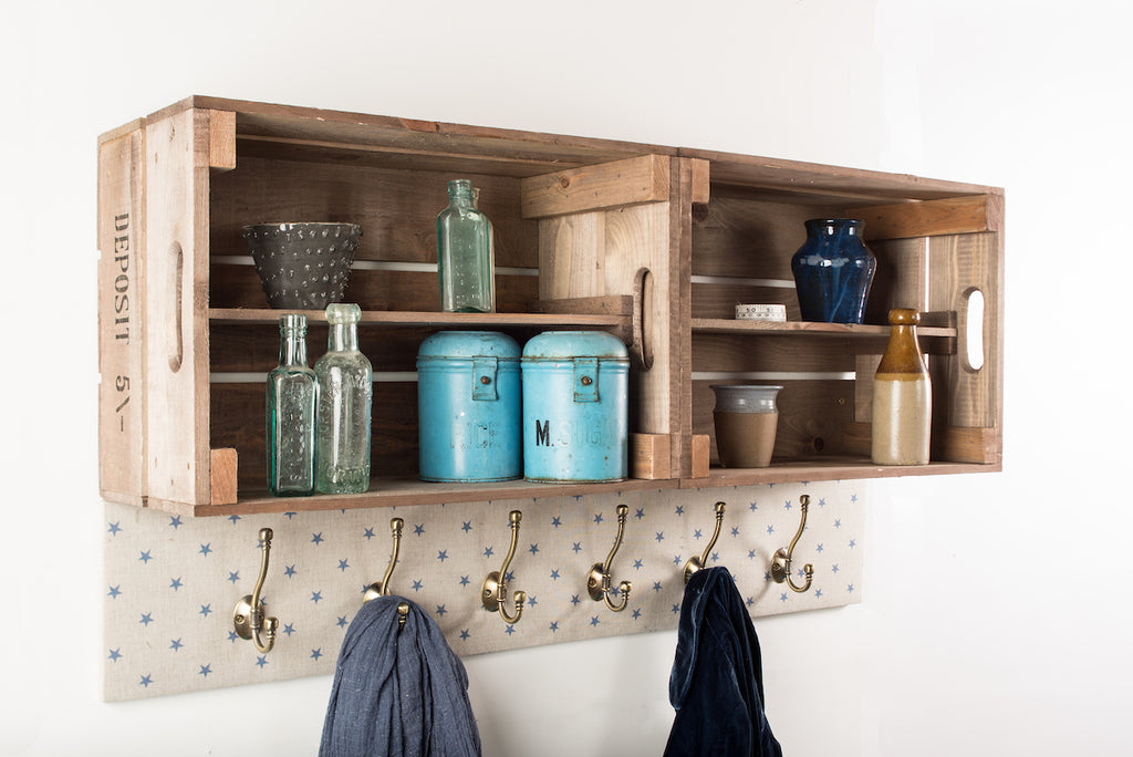 Provide your own fabric shelves and coat hooks