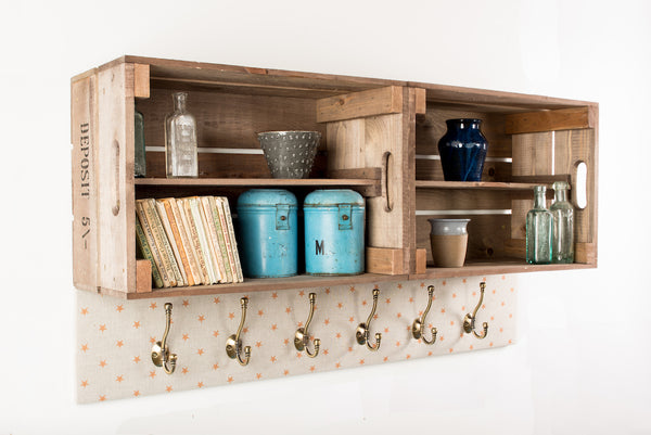 Mustard star shelves and coat hooks