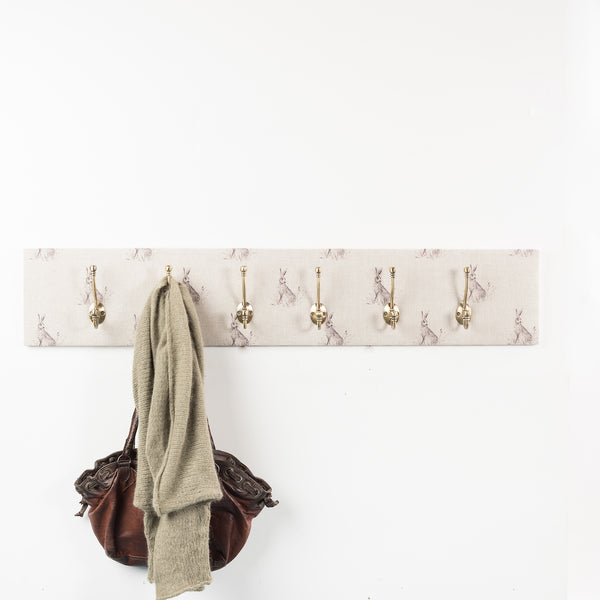 Natural hare coat hooks