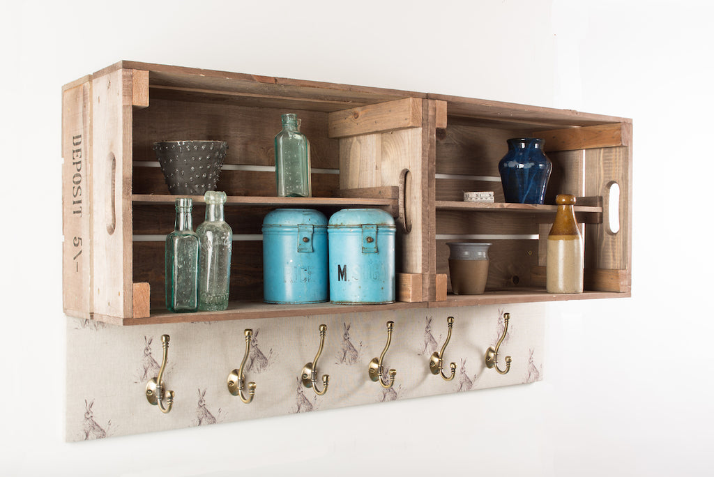 Natural hare shelves and coat hooks