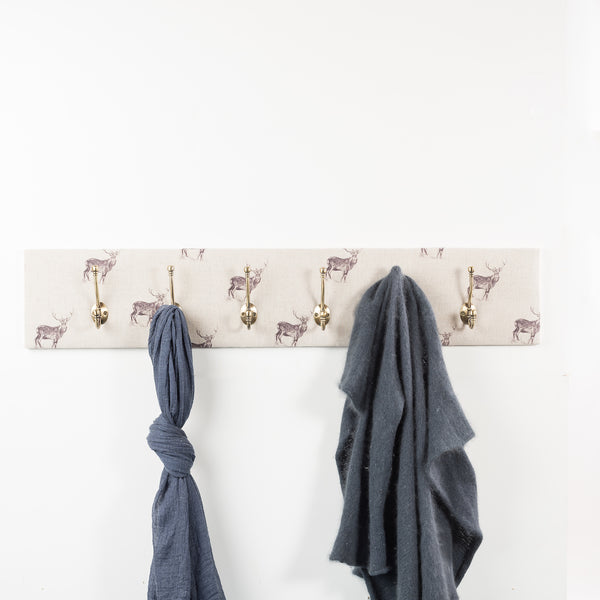Natural stag coat hooks