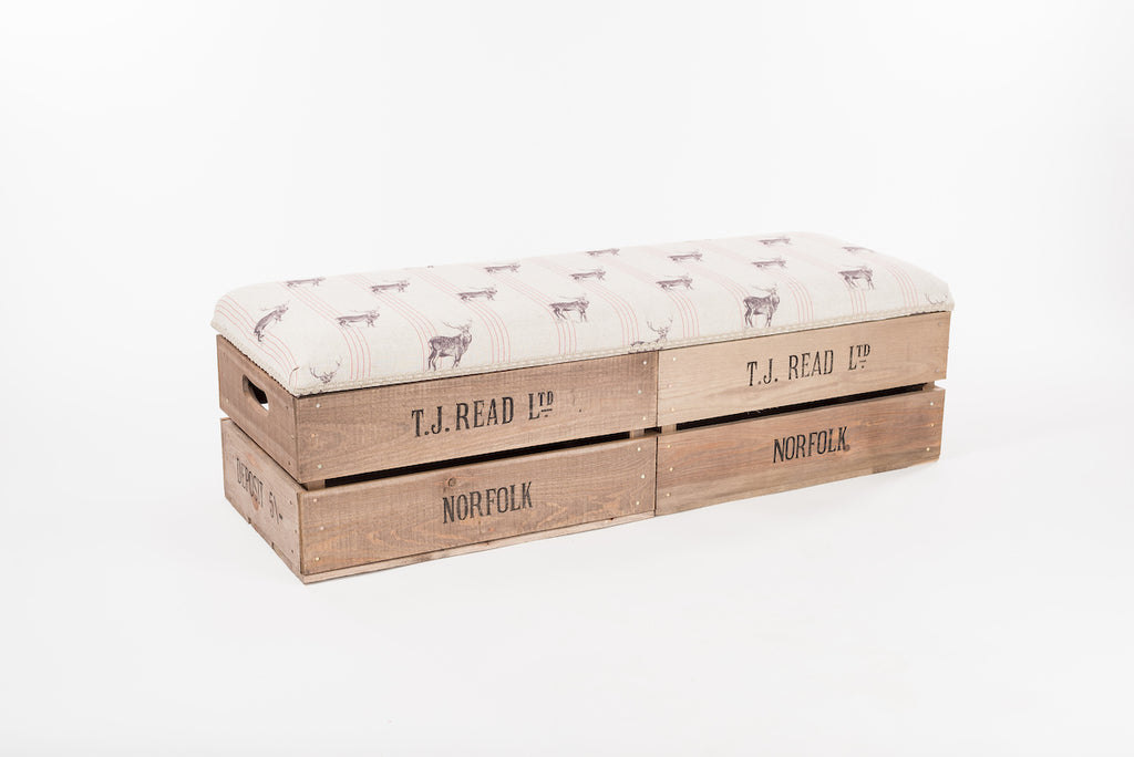 Red stripe stag long footstool