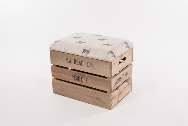 Red stripe stag storage stool