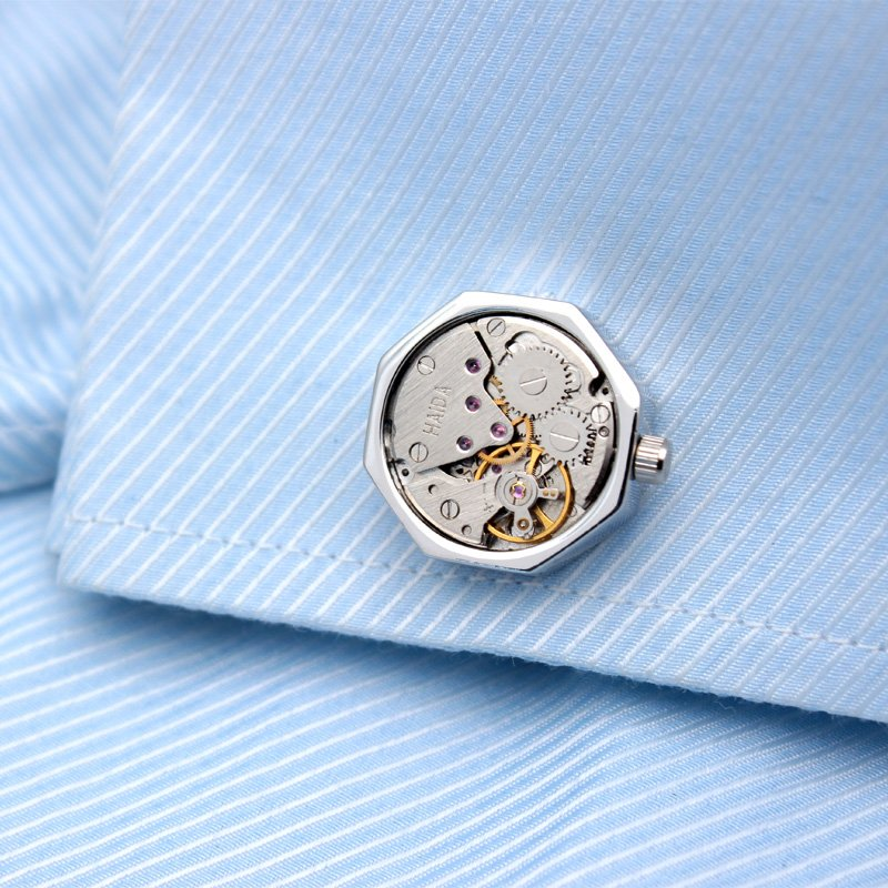 Octagonal Watch Engine Cufflinks Spocket