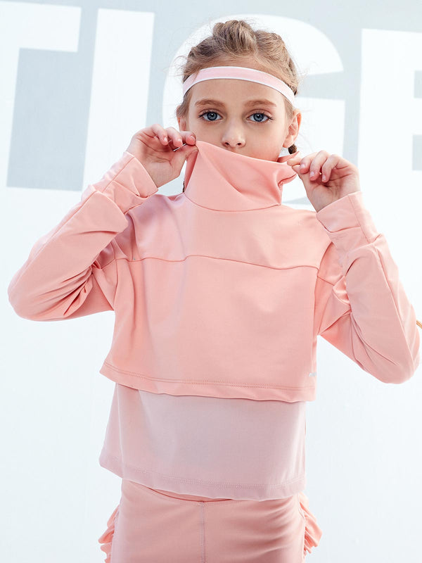 HIGH COLLAR LONG SLEEVES - Peach Pink