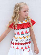Playful Ruffled Top - Fruit Party White