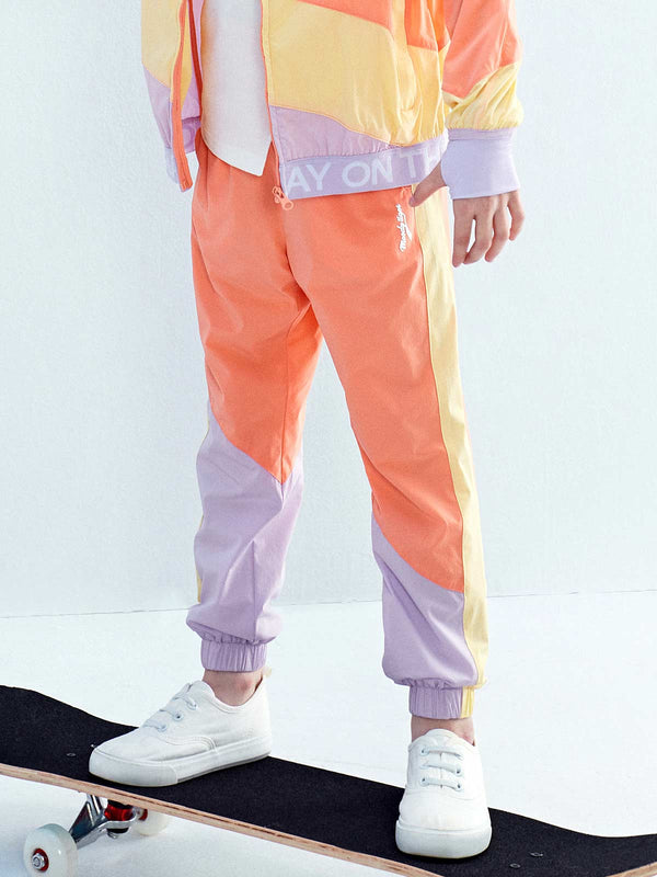 LT WEIGHT COLOUR BLOCKING PANTS - Peach Pink