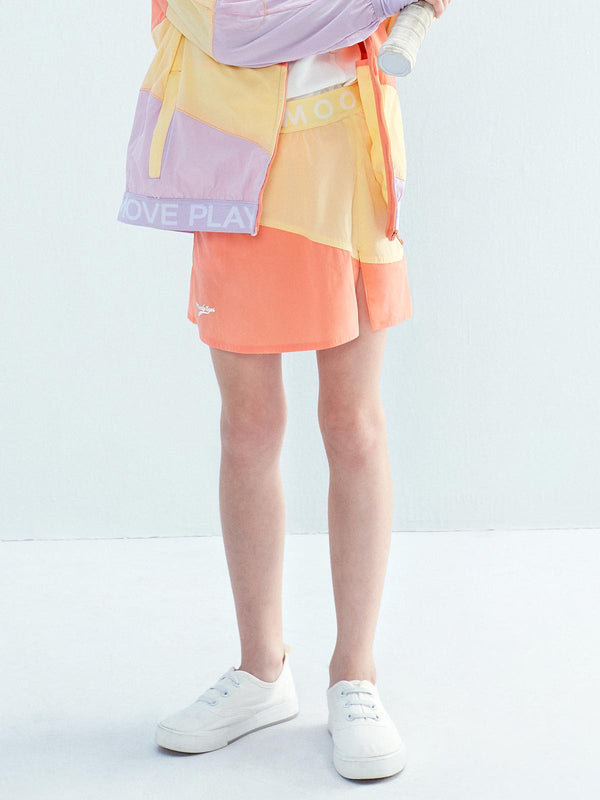 SS20 | LT WEIGHT COLOUR BLOCKING SKIRT - Peach Pink