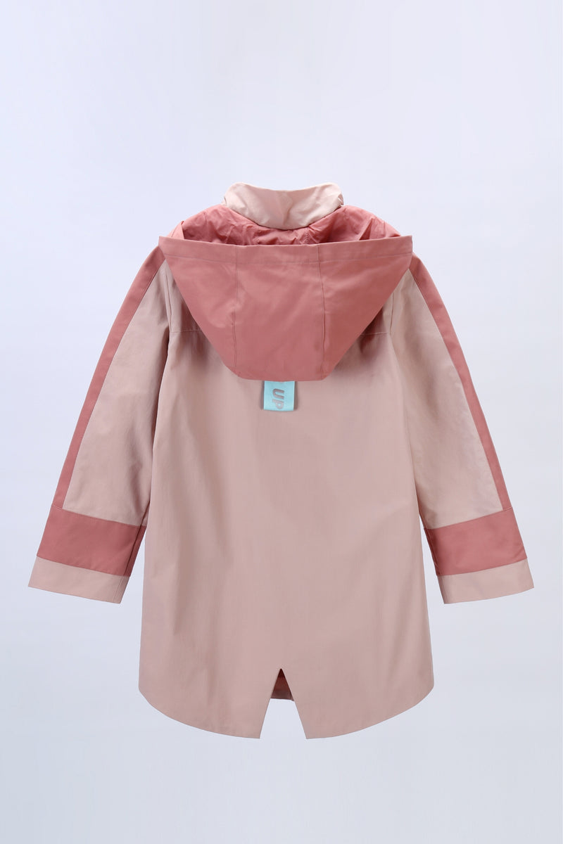Move in the storm Waterproof Long Coat - Coral Cloud