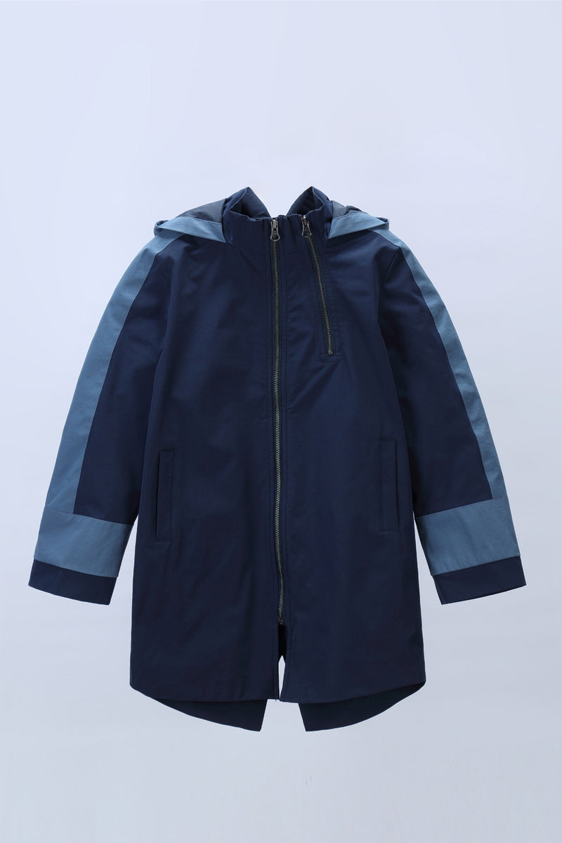 Move in the storm Waterproof Long Coat - Dress Blue