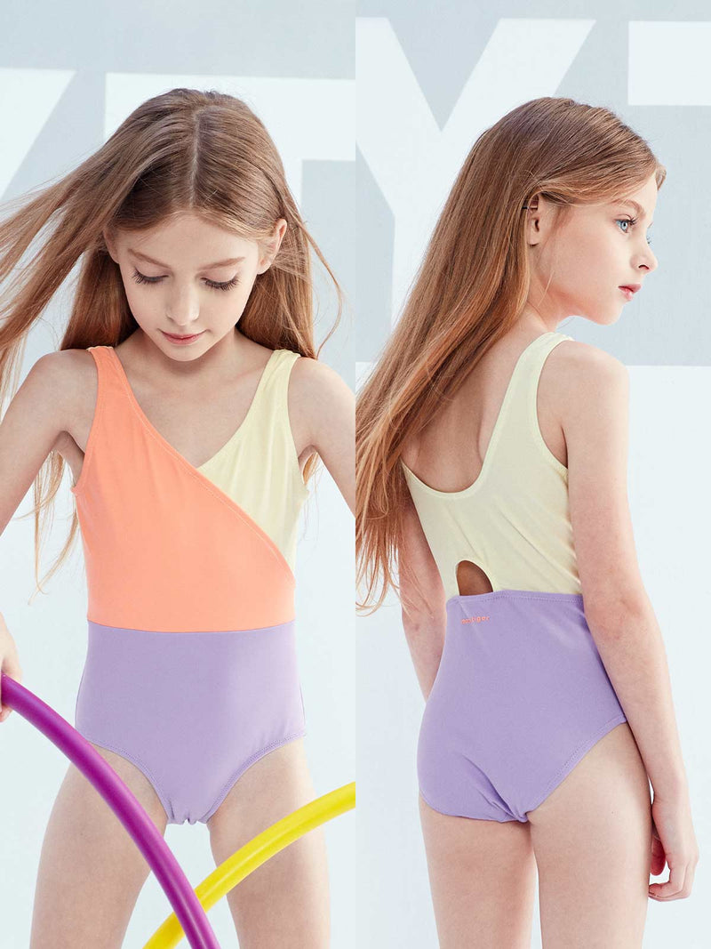 SS20 | ONE - PIECE BLOCKING SWIMMING SUIT - Peach Pink
