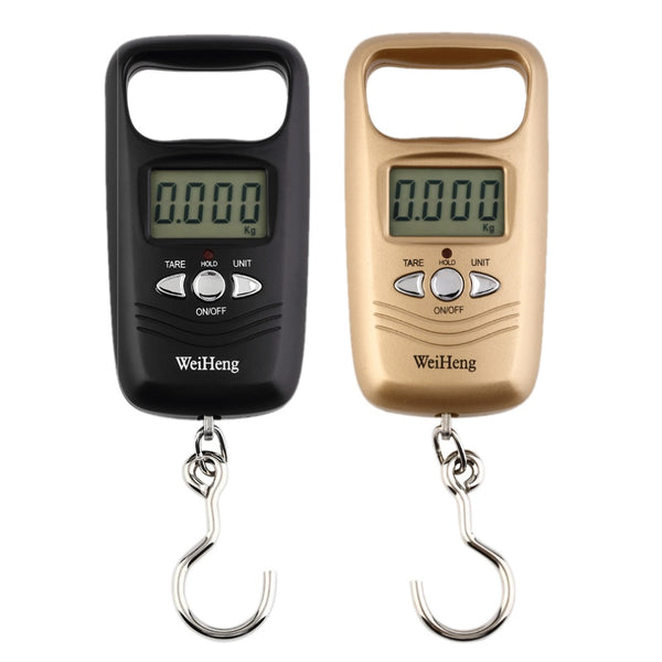 50KG Double Precision Digital Scale Electronic Fishing Hook Scale Hanging Luggage Weighing (Black/Golden) - thebluedream.net