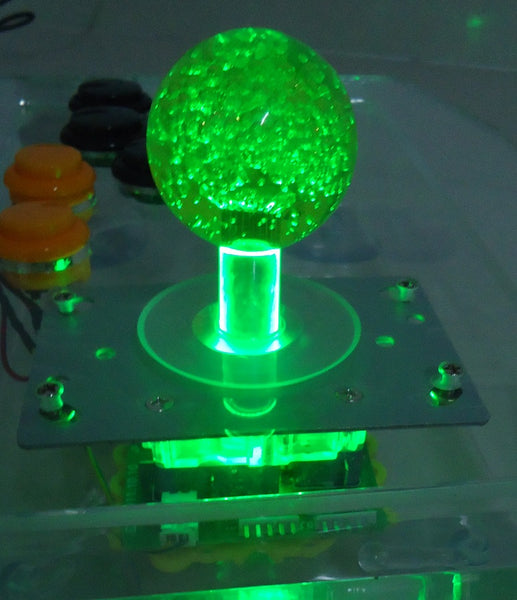 1 pcs of 12V Green lighted Illuminated joystick with Green crystal bobble top ball and microswitch for game machine - thebluedream.net