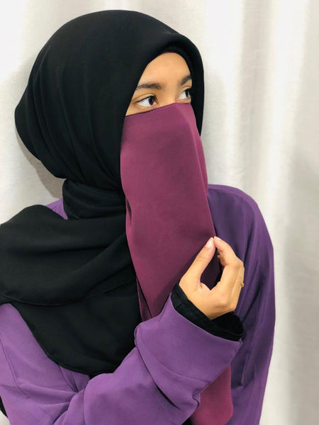 Luxury Plum Purple Elastic Half Niqab