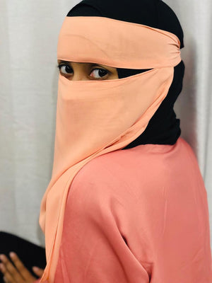 Light Peach Coral One Piece Single Layer Niqab