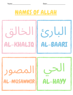 Butterfly Life Cycle and Names of Allaah Worksheet