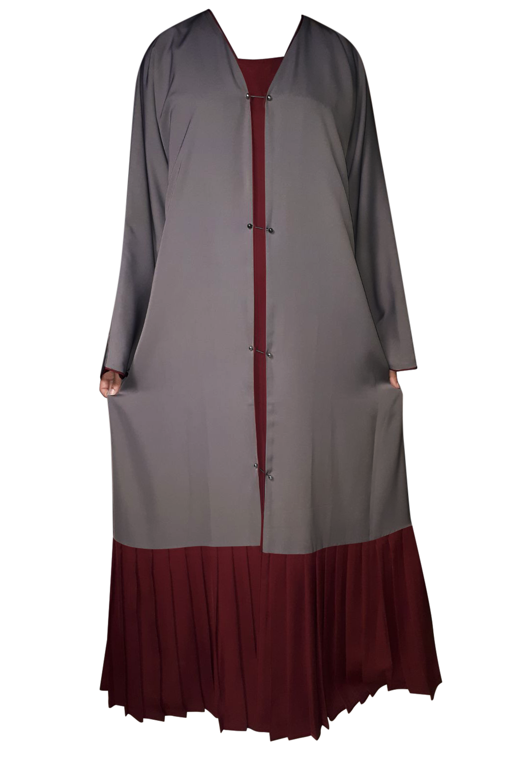 Dark Grey on Maroon Double Layer Studded Pin Abaya