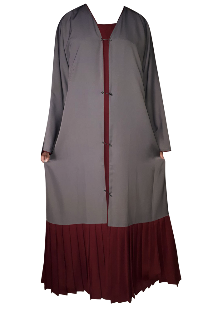 Load image into Gallery viewer, Dark Grey on Maroon Double Layer Studded Pin Abaya